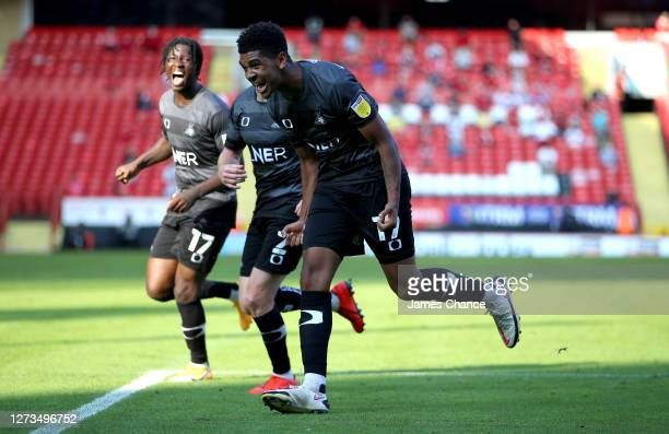 Tyreece John-Jules of Doncaster Rovers celebrates after he scores his sides third goal during the Sky Bet League One match between Charlton Athletic...