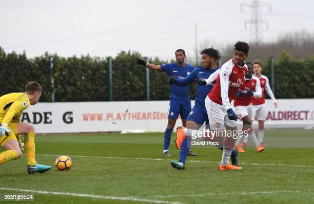Tyreece JohnJules scores Arsenal's 2nd goal during the match between Arsenal U23 and Chelsea U23 at London Colney on March 17 2018 in St Albans...