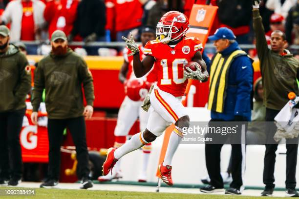 Tyreek Hill of the Kansas City Chiefs celebrates a punt return touchdown that would be called back due to penalty in the fourth quarter of the game...
