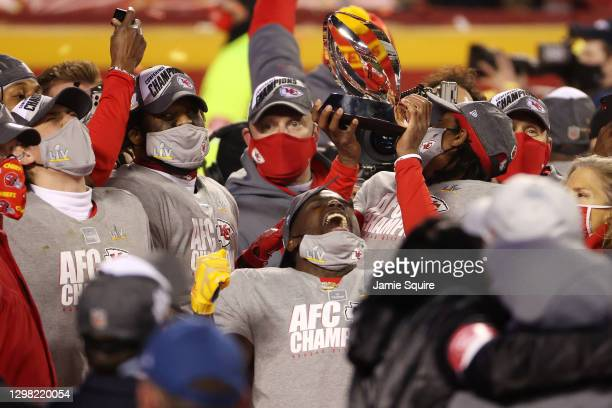 Tyreek Hill of the Kansas City Chiefs celebrates after defeating the Buffalo Bills 38-24 in the AFC Championship game at Arrowhead Stadium on January...