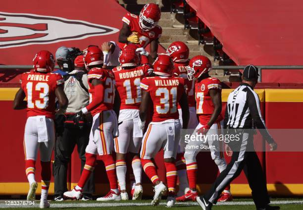 Tyreek Hill of the Kansas City Chiefs celebrates after his touchdown against the New York Jets during their NFL game at Arrowhead Stadium on November...