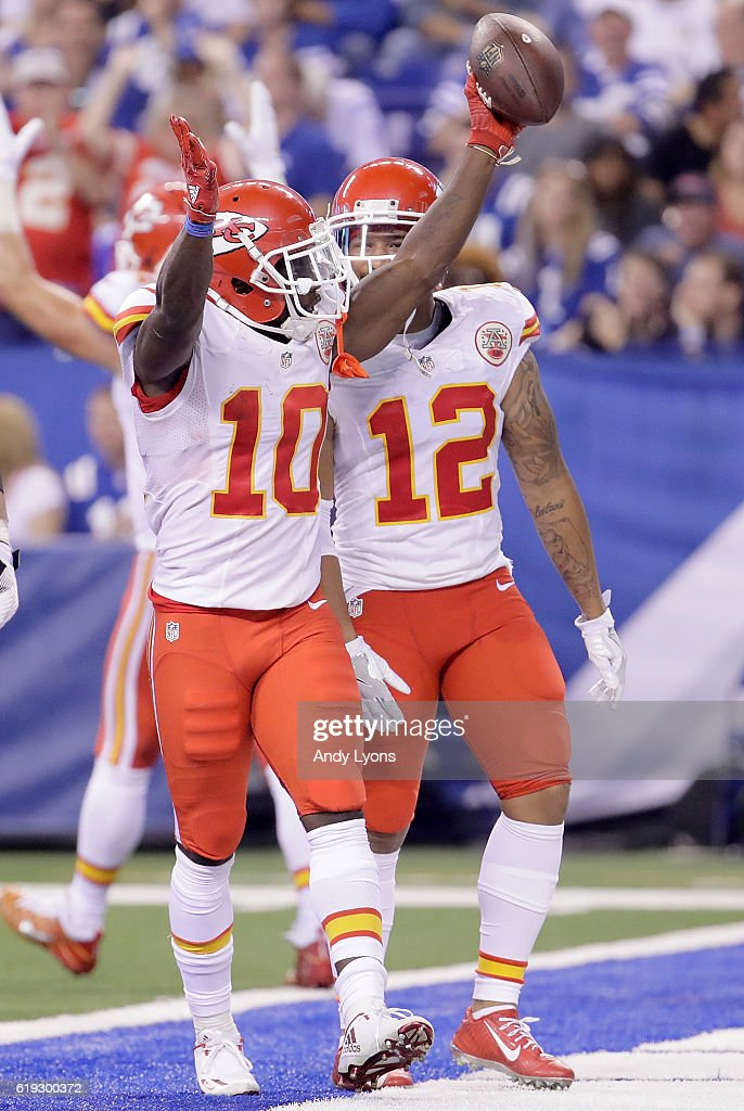 Tyreek Hill #10 of the Kansas City Chiefs celebrates after scoring a touchdown during the third quarter of the game against the Indianapolis Colts at Lucas Oil Stadium on October 30, 2016 in Indianapolis, Indiana.