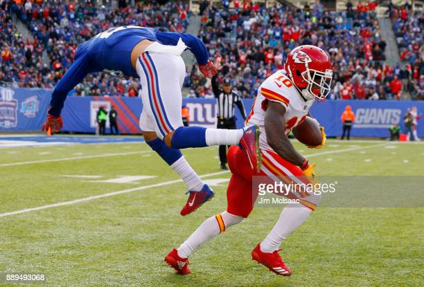 Tyreek Hill of the Kansas City Chiefs in action against Darian Thompson of the New York Giants on November 19 2017 at MetLife Stadium in East...