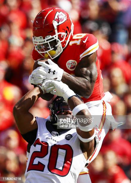 Tyreek Hill of the Kansas City Chiefs makes a 46yard touchdown reception against Justin Reid of the Houston Texans during the first quarter at...