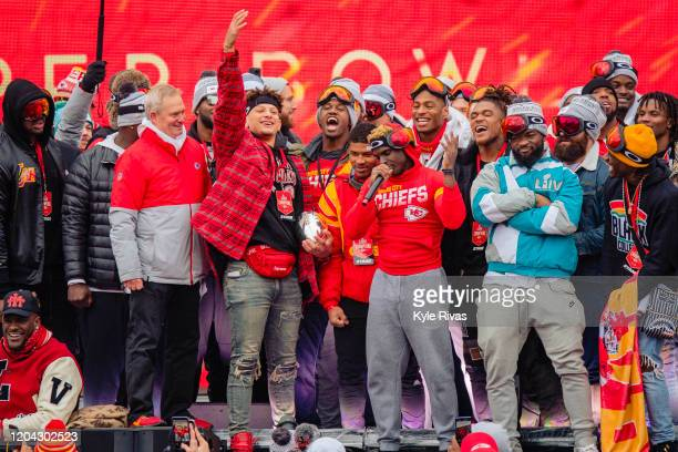 Tyreek Hill of the Kansas City Chiefs thanks fans during the Kansas City Super Bowl parade on February 5 2020 in Kansas City Missouri