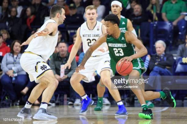 Tyreese Davis of the Jacksonville Dolphins drives to the basket in the game against the Notre Dame Fighting Irish in the second half at Purcell...