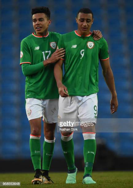 Tyreik Wright and Adam Idah of Ireland walk off the pitch after losing the UEFA European Under17 Championship match between Netherlands and Ireland...