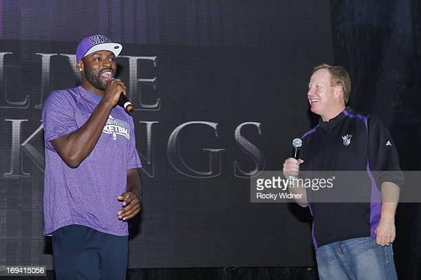 Tyreke Evans and Grant Napear address the crowd at the Kings Rally on May 23 2013 in Sacramento California NOTE TO USER User expressly acknowledges...