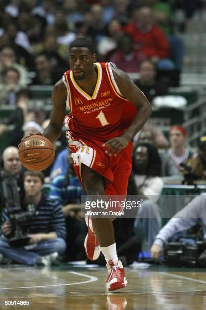 Tyreke Evans of the East team dribbles during the 2008 McDonald's All American High School Boys basketball game on March 26 2008 at the Bradley...