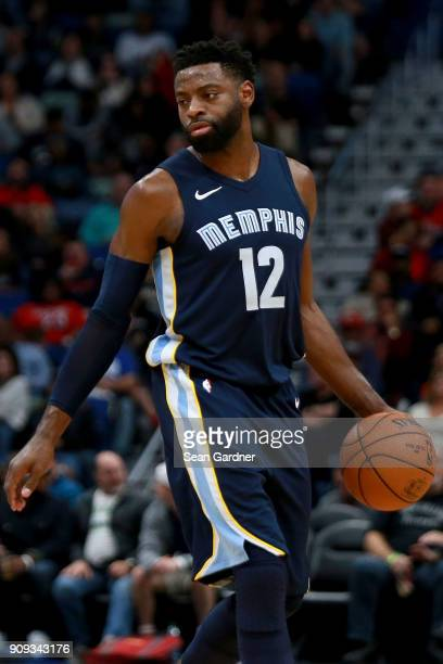 Tyreke Evans of the Memphis Grizzlies dribbles the ball down court during the second half of a NBA game against the New Orleans Pelicans at the...