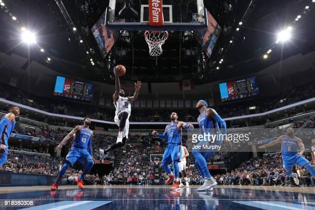 Tyreke Evans of the Memphis Grizzlies drives to the basket against the Oklahoma City Thunder on February 14 2018 at FedExForum in Memphis Tennessee...
