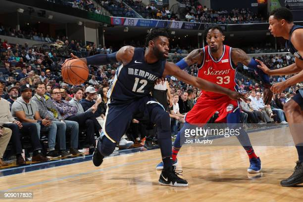 Tyreke Evans of the Memphis Grizzlies handles the ball against the Philadelphia 76ers on January 22 2018 at FedExForum in Memphis Tennessee NOTE TO...