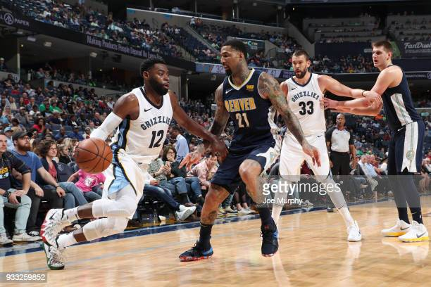 Tyreke Evans of the Memphis Grizzlies handles the ball against the Denver Nuggets on March 17 2018 at FedExForum in Memphis Tennessee NOTE TO USER...