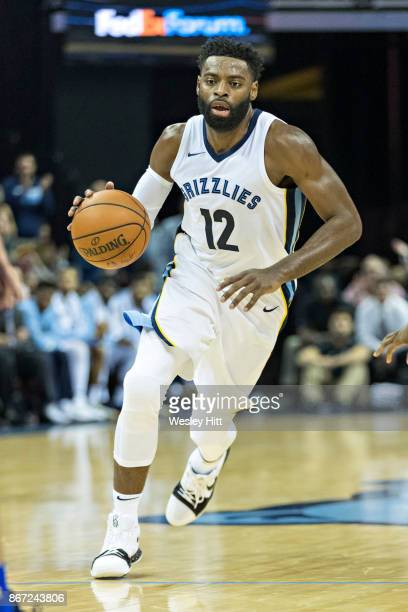 Tyreke Evans of the Memphis Grizzlies on the court during a game against the Dallas Mavericks at the FedEx Forum on October 26 2017 in Memphis...