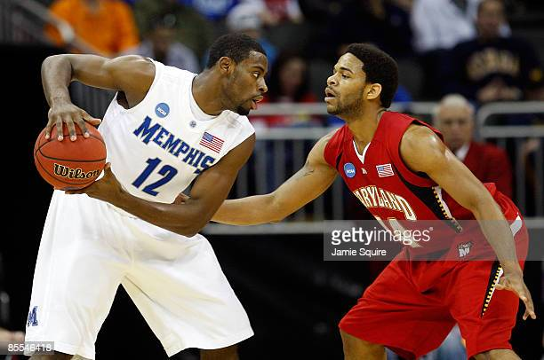 Tyreke Evans of the Memphis Tigers looks to make a move against Sean Mosley of the Maryland Terrapins in the first half during the second round of...