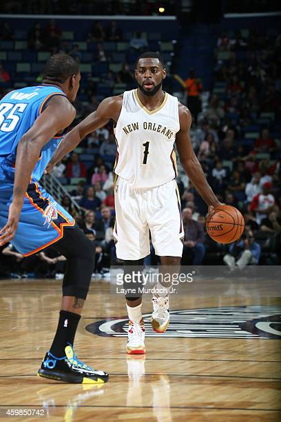 Tyreke Evans of the New Orleans Pelicans handles the ball against the Oklahoma City Thunder during the game on December 2 2014 at the Smoothie King...