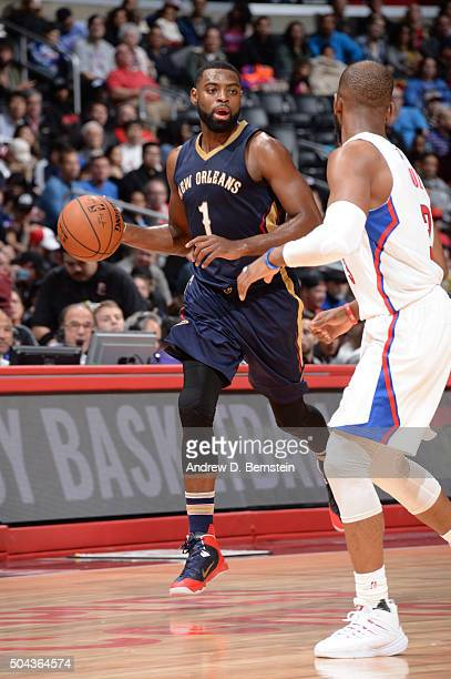 Tyreke Evans of the New Orleans Pelicans handles the ball against the Los Angeles Clippers on January 10 2016 at STAPLES Center in Los Angeles...
