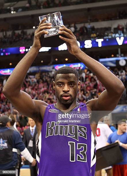 Tyreke Evans of the Rookie team holds MVP trophy after defeating the Sophomore team during the TMobile Rookie Challenge Youth Jam part of 2010 NBA...