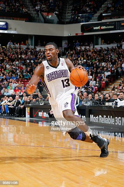 Tyreke Evans of the Sacramento Kings drives the ball to the basket during the game against the Orlando Magic on January 12 2010 at Arco Arena in...