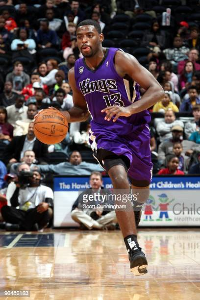 Tyreke Evans of the Sacramento Kings moves the ball up court during the game against the Atlanta Hawks at Philips Arena on January 20 2010 in Atlanta...