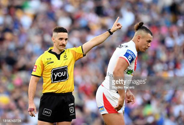 Tyrell Fuimaono of the Dragons is sent off for an alleged illegal shot on Ryan Papenhuyzen of the Storm during the round 10 NRL match between the...