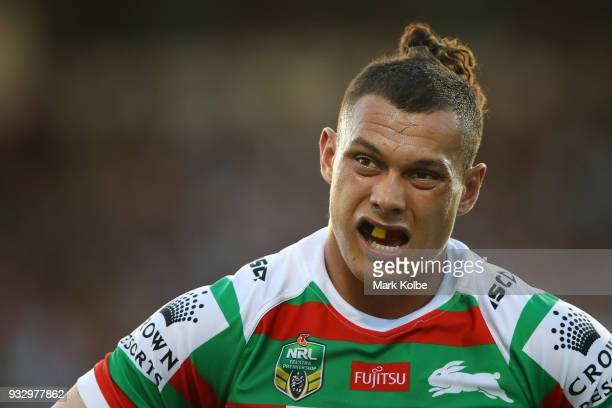 Tyrell Fuimaono of the Rabbitohs looks dejected after a Panthers try during the round two NRL match between the Penrith Panthers and the South Sydney...