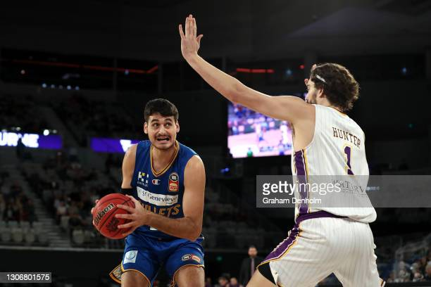 Tyrell Harrison of the Bullets in action during the NBL Cup match between the Brisbane Bullets and the Sydney Kings at John Cain Arena on March 13 in...