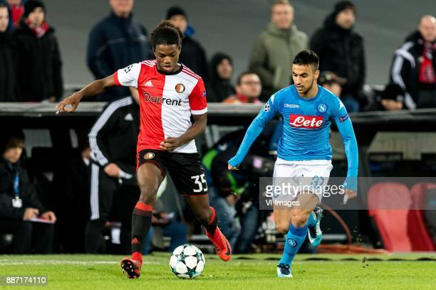 Tyrell Malacia of Feyenoord Adam Ounas of SSC Napoli during the UEFA Champions League group F match between Feyenoord Rotterdam and SSC Napoli at the...