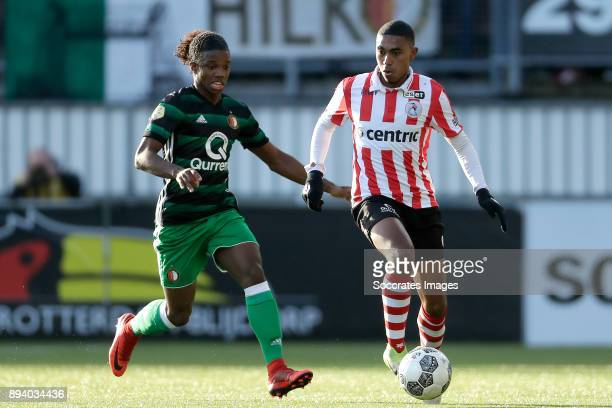 Tyrell Malacia of Feyenoord Deroy Duarte of Sparta Rotterdam during the Dutch Eredivisie match between Sparta v Feyenoord at the Sparta Stadium Het...