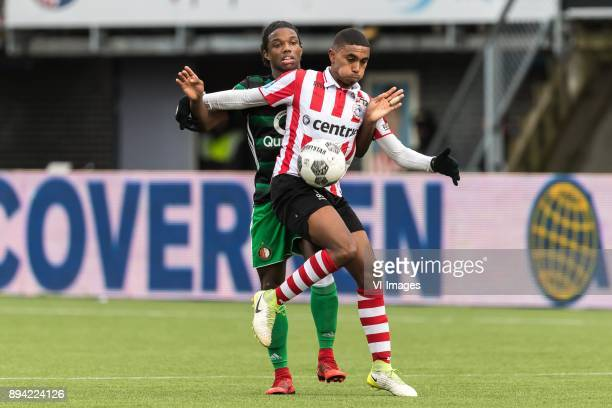 Tyrell Malacia of Feyenoord Deroy Duarte of Sparta Rotterdam during the Dutch Eredivisie match between Sparta Rotterdam and Feyenoord Rotterdam at...