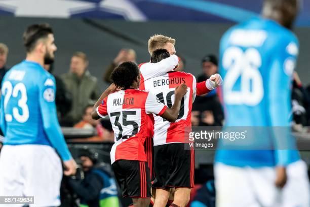 Tyrell Malacia of Feyenoord Steven Berghuis of Feyenoord Nicolai Jorgensen of Feyenoord during the UEFA Champions League group F match between...