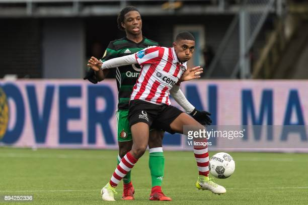 Tyrell Malacia of FeyenoordDeroy Duarte of Sparta Rotterdam during the Dutch Eredivisie match between Sparta Rotterdam and Feyenoord Rotterdam at the...
