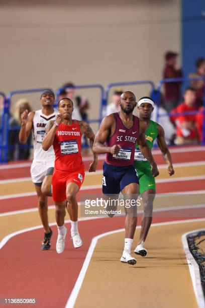 Tyrell Richard of the South Carolina State Bulldogs races to a first place finish in the 400 meter dash during the Division I Men'u2019s and...