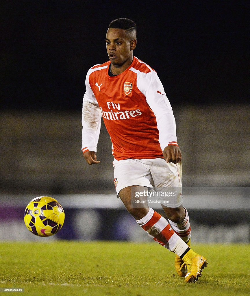 Tyrell Robinson of Arsenal during the FA Youth Cup 3rd Round match between Arsenal and Reading at Meadow Park on December 19, 2014 in Borehamwood, England.