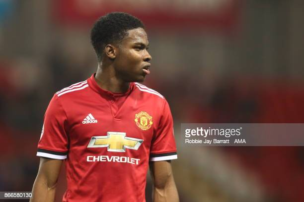 Tyrell Warren of Manchester United during the Premier League 2 fixture between Manchester United and Liverpool at Leigh Sports Village on October 23...