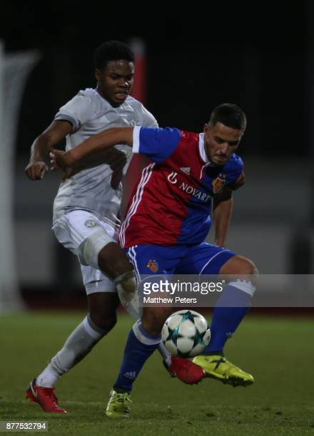 Tyrell Warren of Manchester United U19s in action during the UEFA Youth League match between FC Basel U19s and Manchester United U19s at...