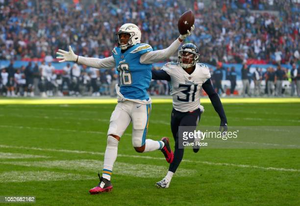 Tyrell Williams of Los Angeles Chargers scores his sides first touchdown during the NFL International Series match between Tennessee Titans and Los...