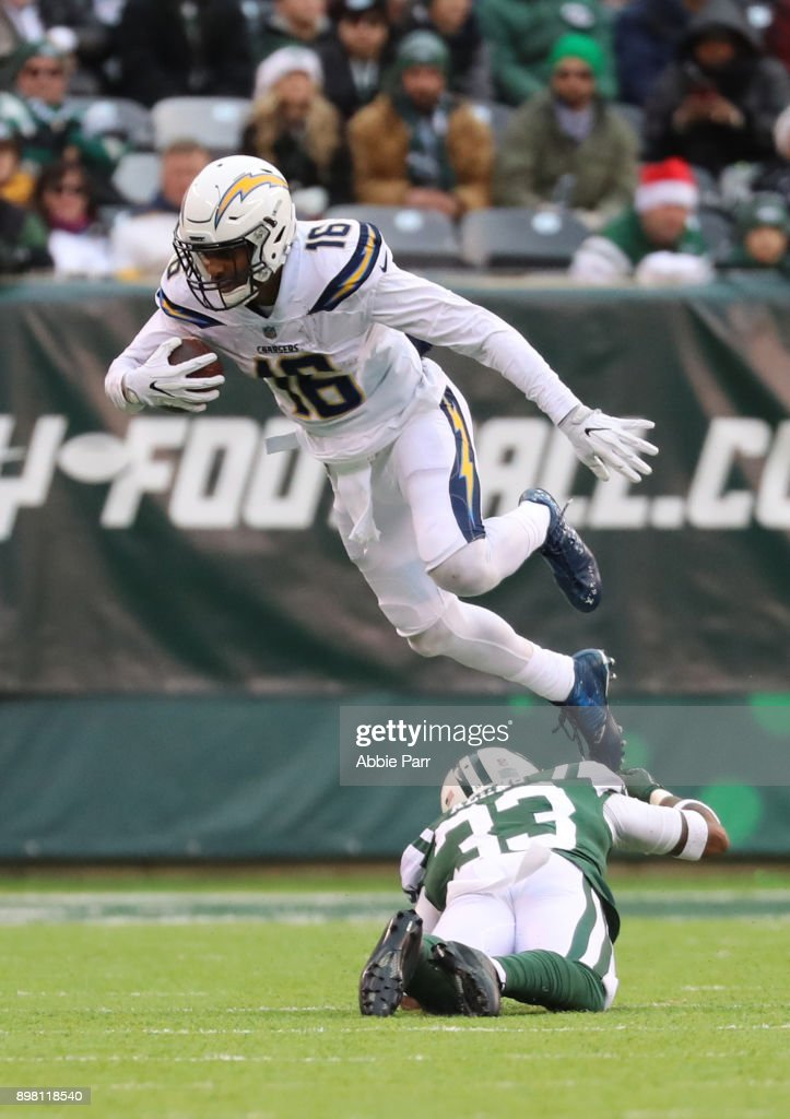 Tyrell Williams #16 of the Los Angeles Chargers avoids the tackle attempt from Jamal Adams #33 of the New York Jets during the second half of an NFL game at MetLife Stadium on December 24, 2017 in East Rutherford, New Jersey. The Los Angeles Chargers defeated the New York Jets 14-7.