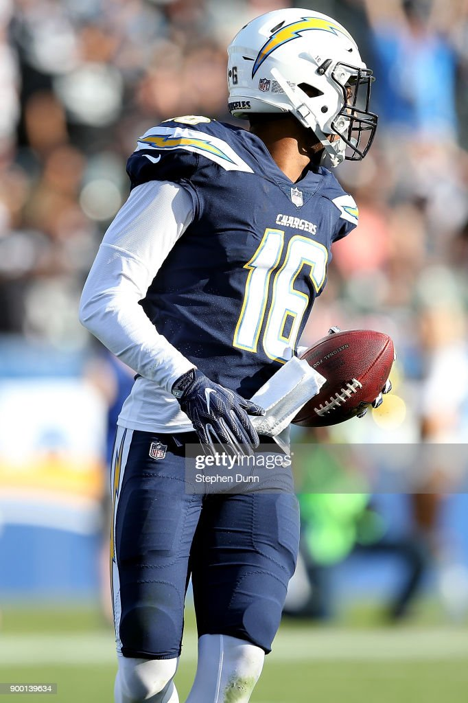 Tyrell Williams #16 of the Los Angeles Chargers looks down field as he scores a touchdown during the game against the Oakland Raiders at StubHub Center on December 31, 2017 in Carson, California.