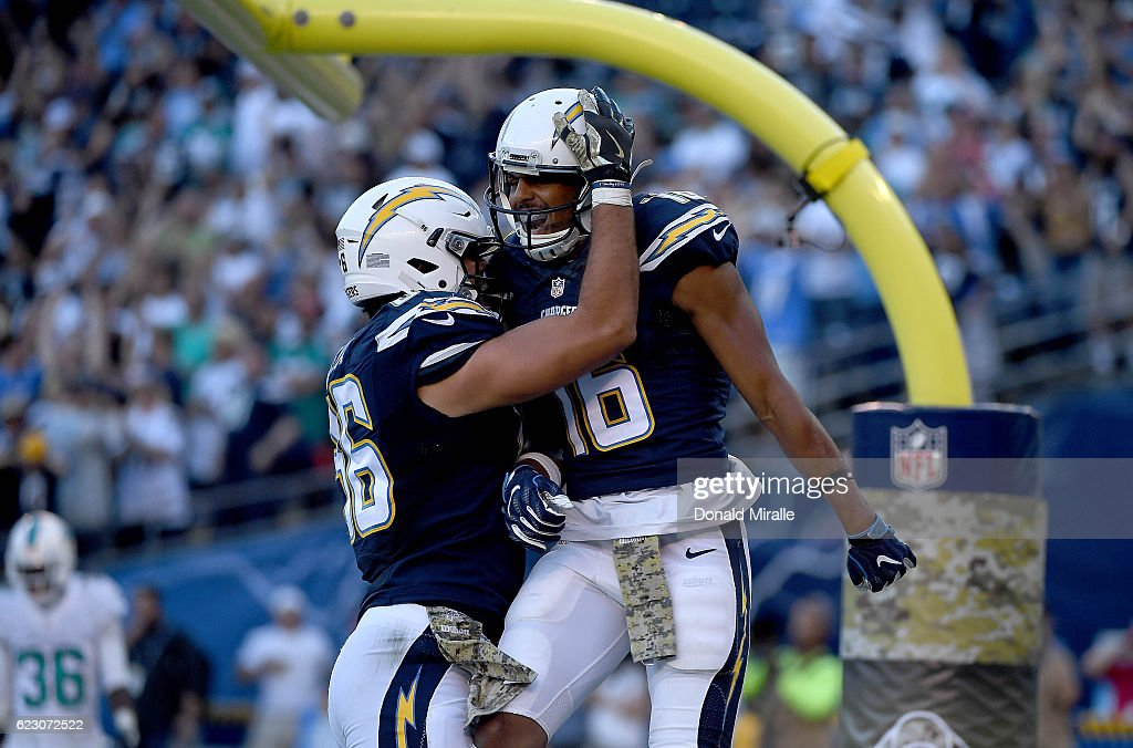 Tyrell Williams #16 of the San Diego Chargers is congratulated by teammate Hunter Henry #86 after scoring a touchdown in the fourth quarter at Qualcomm Stadium on November 13, 2016 in San Diego, California.
