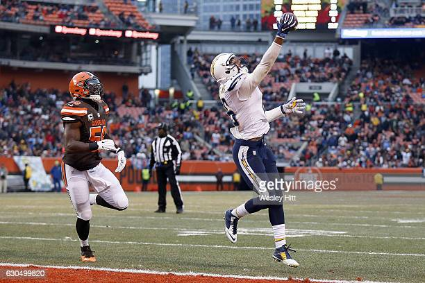 Tyrell Williams of the San Diego Chargers pulls in a 1 yard touchdown pass in the third quarter against Demario Davis of the Cleveland Browns at...