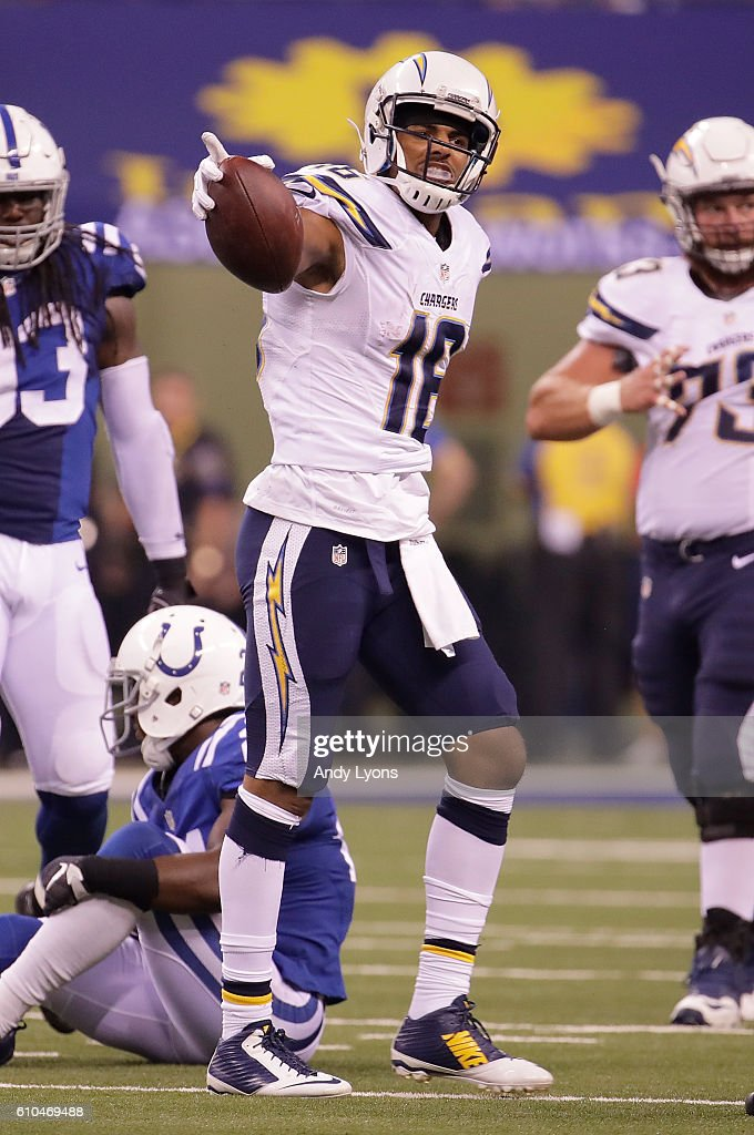 Tyrell Williams #16 of the San Diego Chargers reacts after catching the ball during the game against the Indianapolis Colts at Lucas Oil Stadium on September 25, 2016 in Indianapolis, Indiana.