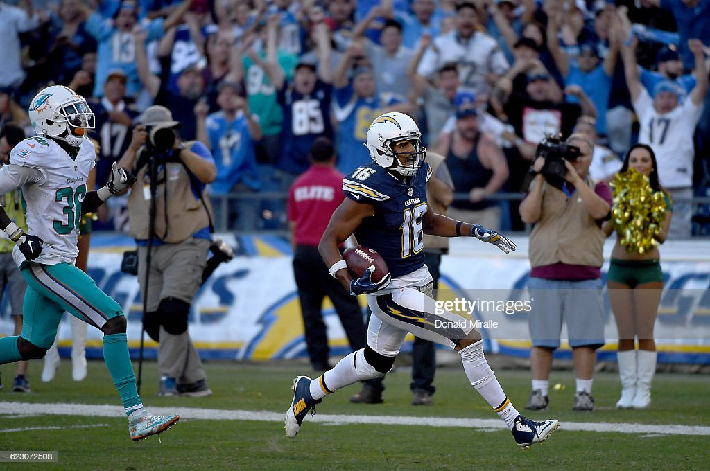 Tyrell Williams #16 of the San Diego Chargers runs into the end zone for a touchdown reception in the fourth quarter against the Miami Dolphins at Qualcomm Stadium on November 13, 2016 in San Diego, California.