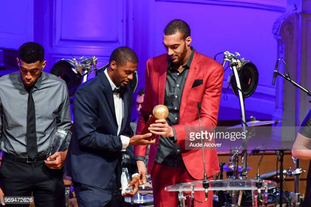 Tyren Johnson and Rudy Gobert during the Trophy Award LNB Basketball at Salle Gaveau on May 16 2018 in Paris France