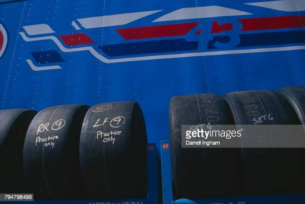 Tyres belonging to the Petty Enterprises racing team at the the All Pro Bumper To Bumper 300 at Charlotte Motor Speedway Concord North Carolina 3rd...