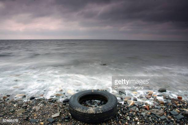 A tyres is washed up by the sea on the beaches in Prestwick Scotland 22 March 2005 A survey conducted by Beachwatch in September of last year...
