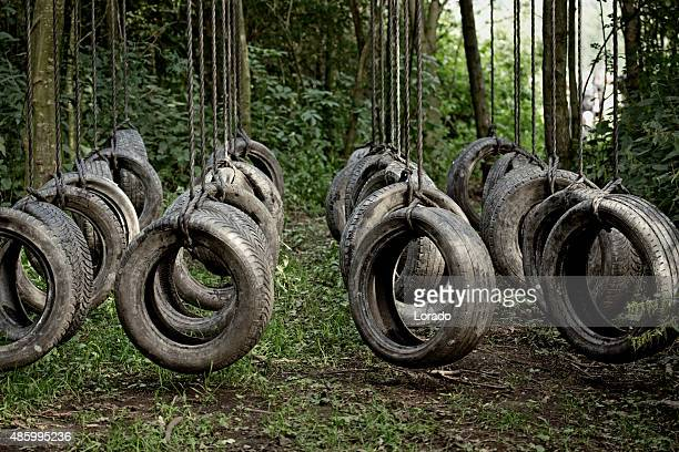 tyres obstacle at the forest - obstacle course stock photos and pictures