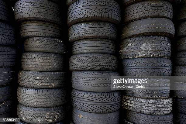 Tyres Old tyres at a garage Sydney Australia Sunday February 24th 2013