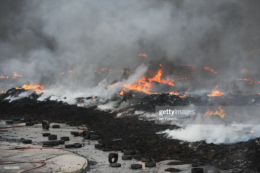 Huge Fire At Recycling Plant In Sherburn-in-Elmet : News Photo