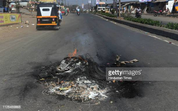 Tyres were burn on road as people protest against the terrorist attack in Pulwama at Nallasopara on February 16 2019 in Mumbai India At least 40 CRPF...